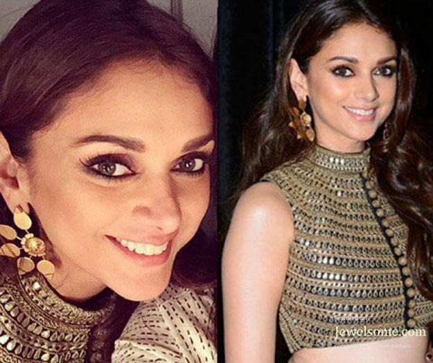 Suhani-pittie-Etched-Rose-Earrings-worn-aditi-rao-hydari-at-wills-lifestyle-india-fashion-week